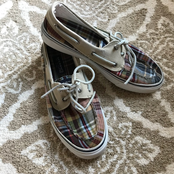 Hpmens Sperry Topsider Plaid Boat Shoes